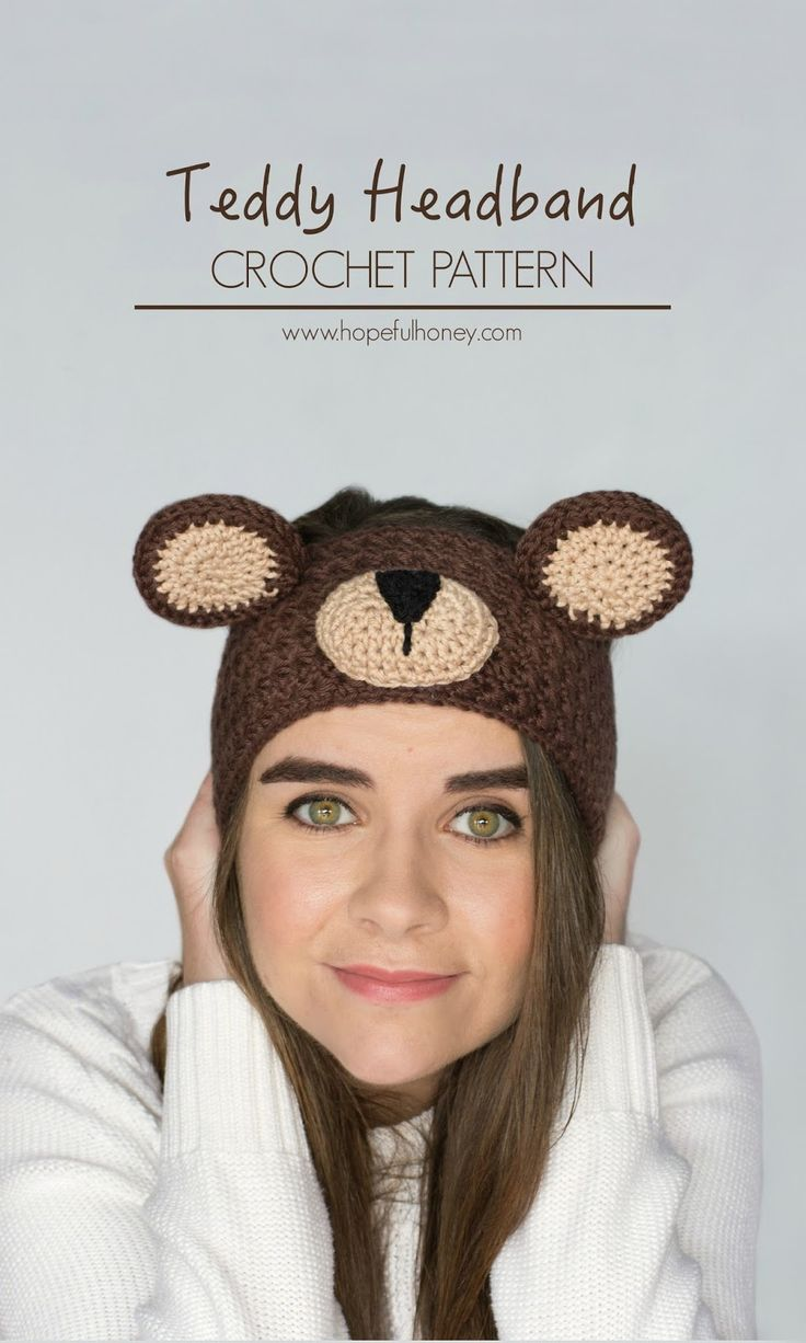 Teddy Bear Headband - Free Crochet Pattern                                                                                                                                                                                 More