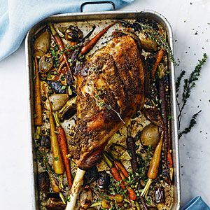 Slow-Roasted Leg of Lamb with Spring Vegetables | MyRecipes.com
