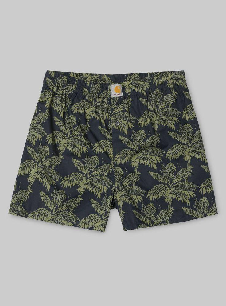 Carhartt WIP Print Boxer Short Ghetto Palm Print, Dark Navy / Bog | carhartt-wip.com