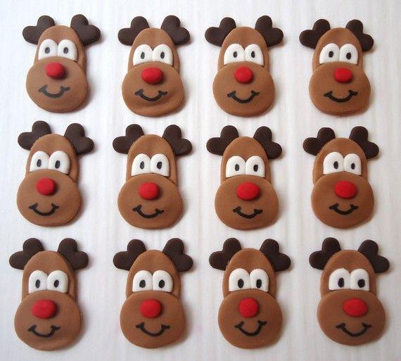 Rudolph Reindeer Cupcake Toppers Edible Reindeer by CakesAndKids