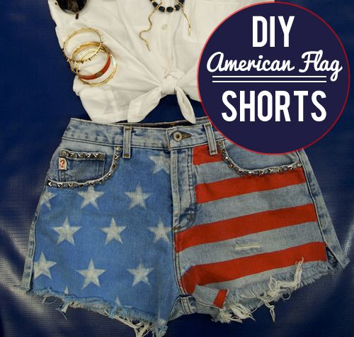 DIY American Flag shorts - much better than paying the ridiculous prices most places try to retail them for