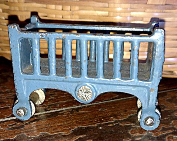 1930's Kilgore Cast Iron Doll House Crib In Blue Paint Vintage Children Play Toy Furniture