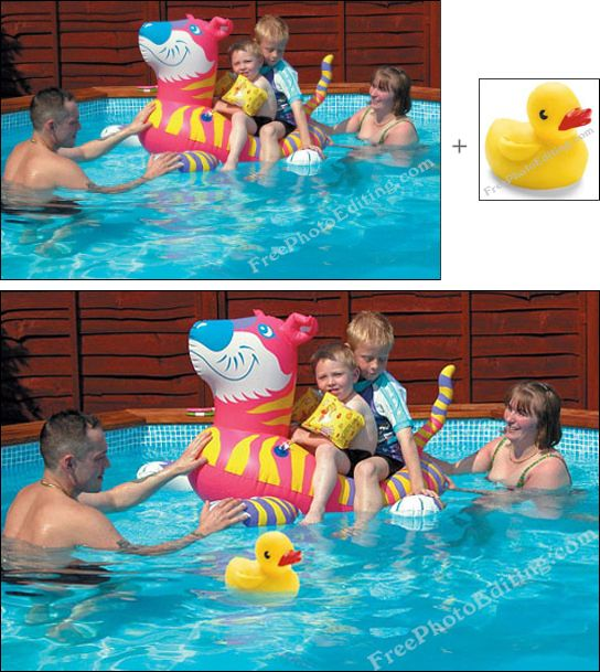 Rubber Duck Added To Family Photograph In Swimming Pool