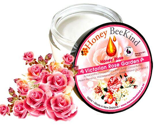 Honey Rose - Luxury Body Cream With Victorian Rose - Active Manuka Honey Skincare and Beauty Products   Honey BeeKind New Zealand