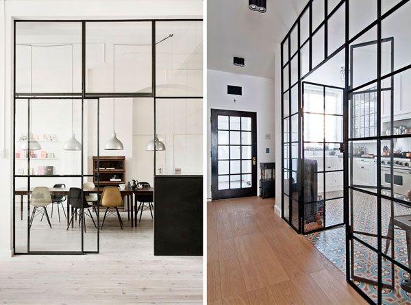 Cristaleras con un toque industrial en tu hogar puertas - Puerta corredera industrial ...