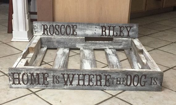Personalized Large Pallet Dog Bed by Crosswoodworks on Etsy