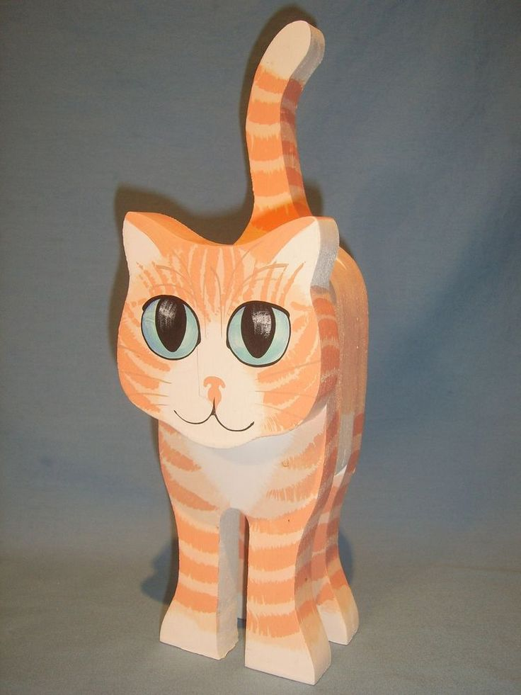 Adorable Hand Painted wooden Cat-Kitten with Blue Eyes -1990 Briar Patch