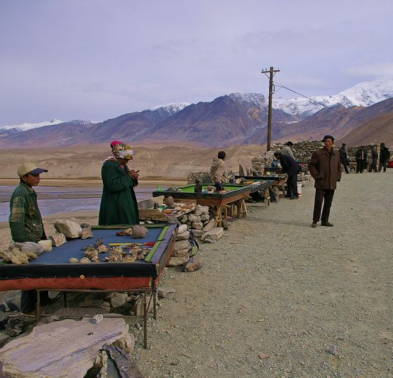 Road side vendors sell souvenirs from old pool tables along the Karakoram highway.