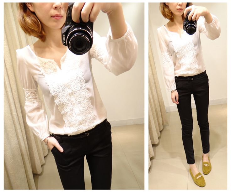 White blouse with lace inserts