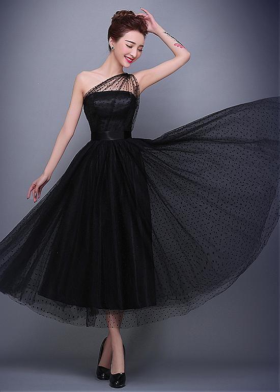 [84.59] Elegant Dot Tulle One-Shoulder Neckline A-line Evening Dress 3