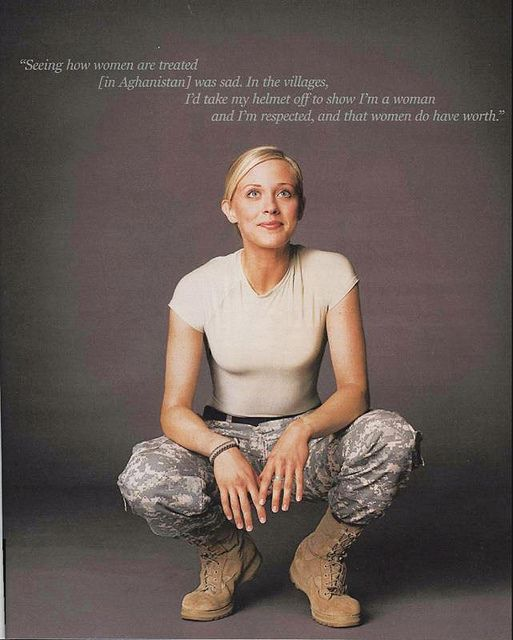 "What a beautiful soldier! BUT if you listen to the American pigs who think women are ""too weak"" or ""too stupid"" to be equal to their male counterparts, you might not even know we live in a ""civilized"" country."