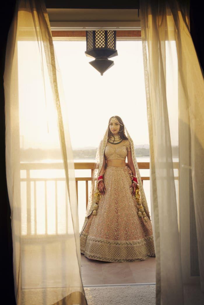 Bridal Wear - The Gorgeous Bride! Photos, Hindu Culture, Beige Color, Bridal Makeup, Mangtika, Polki Kundan Jewellery pictures, images, vendor credits - The Entertainment Design Company, Manish Malhotra, Arpita Mehta, Sabyasachi Couture Pvt Ltd, WeddingPlz