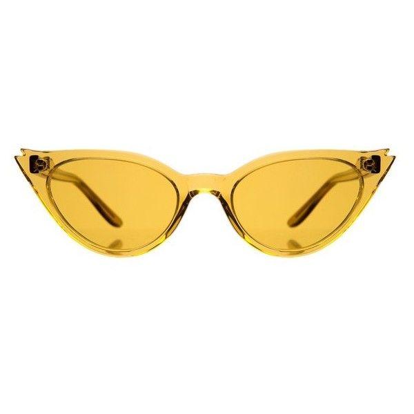 fc6f2a3e0a5 Illesteva Isabella Yellow Cateye Sunglasses found on Polyvore featuring  accessories