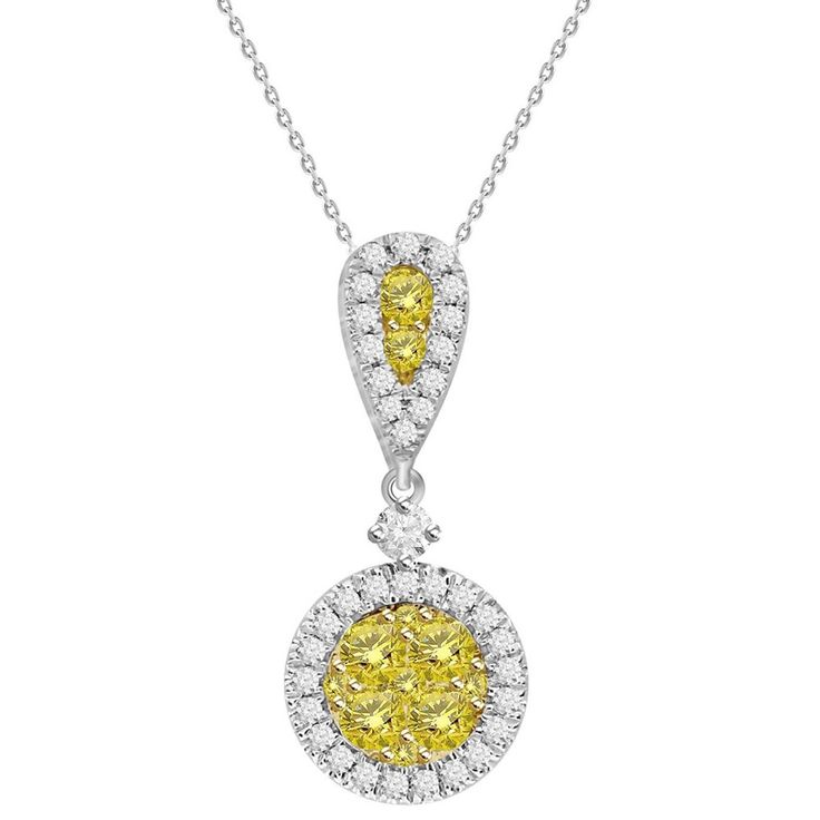 14k Two-tone Gold 5/8ct Canary Yellow Diamond Fashion Pendant