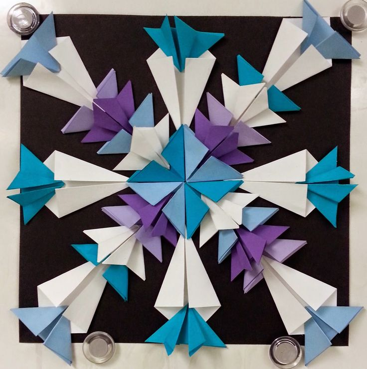Art with Ms. Gram: Radial Paper Relief Sculptures snowflakes