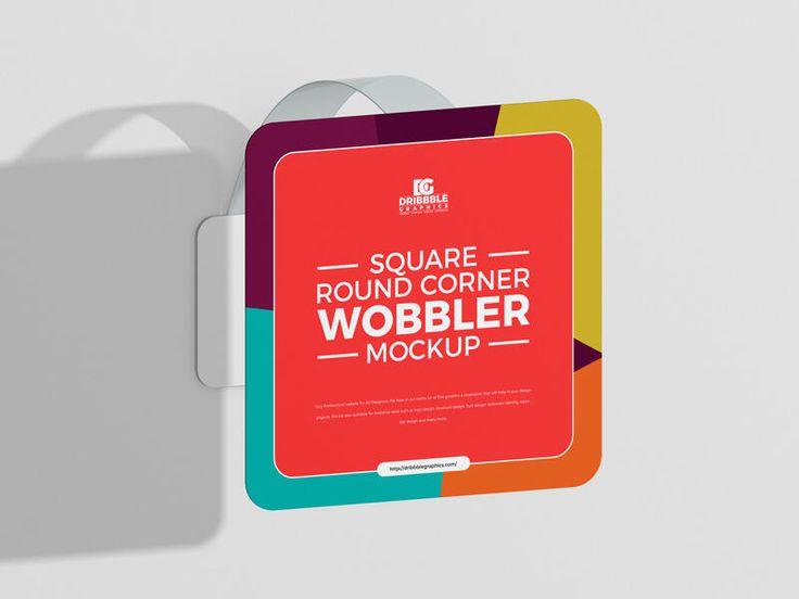 Free Square Round Corner Wobbler Mockup In 2021 Psd Mockup Template Mockup Free Mockup