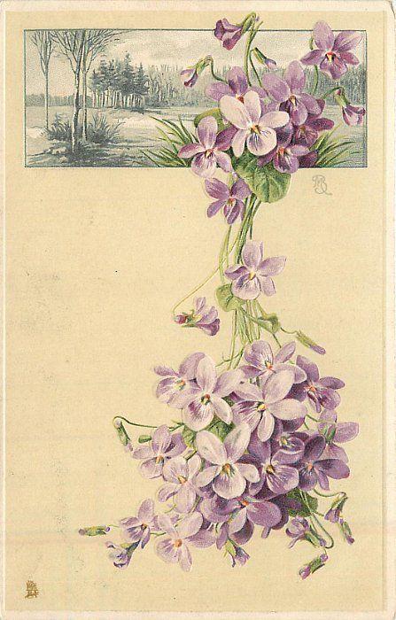 purple flowers below & over rectangular inset of rural scene