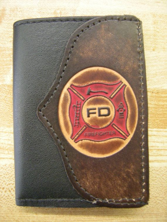 HandCrafted Firefighter Leather Trifold Wallet by HilltopLeather