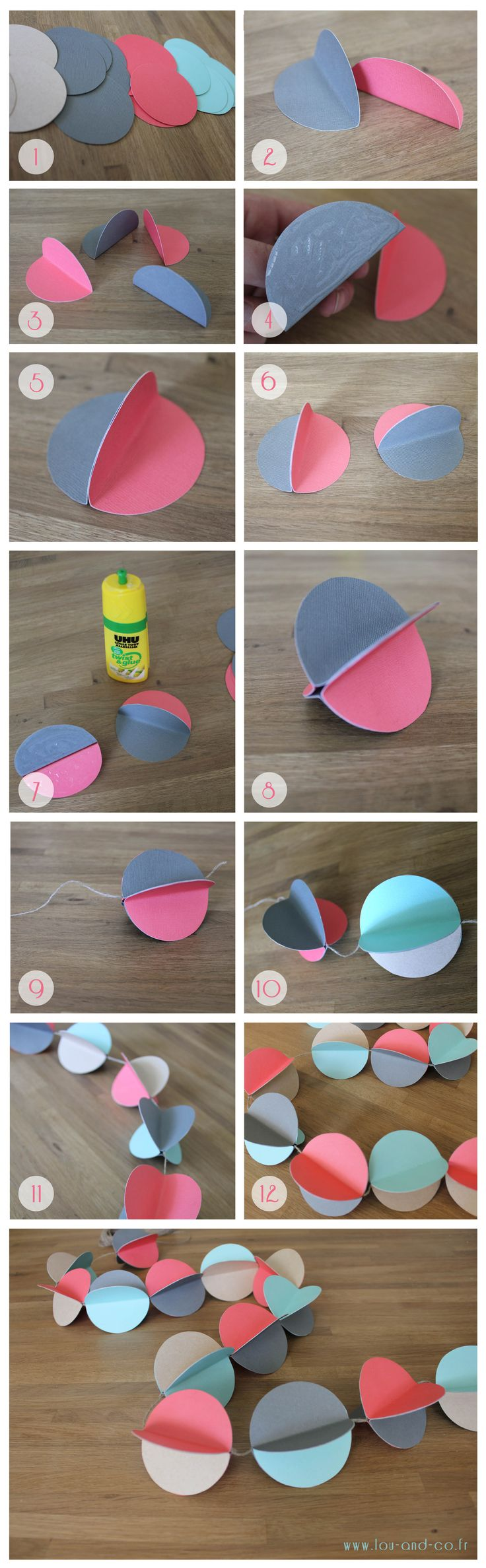 Guirlande en papier DIY, this would be cute with holiday colors.