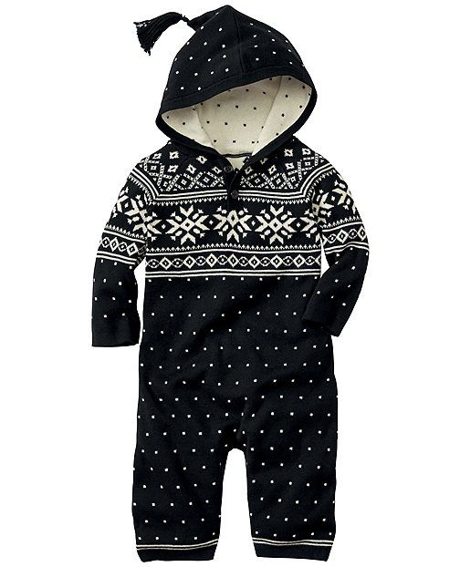 All in one and you're done! Supercrafted hoodie romper is a fresh take on our Nordic heritage in soft cotton yarns that wash, wash, wash. <br>• 100% combed cotton yarns<br>• Heritage Fair Isle<br>• Front button placket<br>• Leg snaps for easy changes<br>• Ribbed edges <br>• Certified by Oeko-Tex Standard 100<br>• Machine wash<br>• Imported