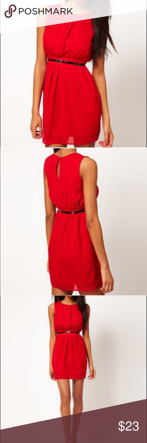V neck red dress asos leather
