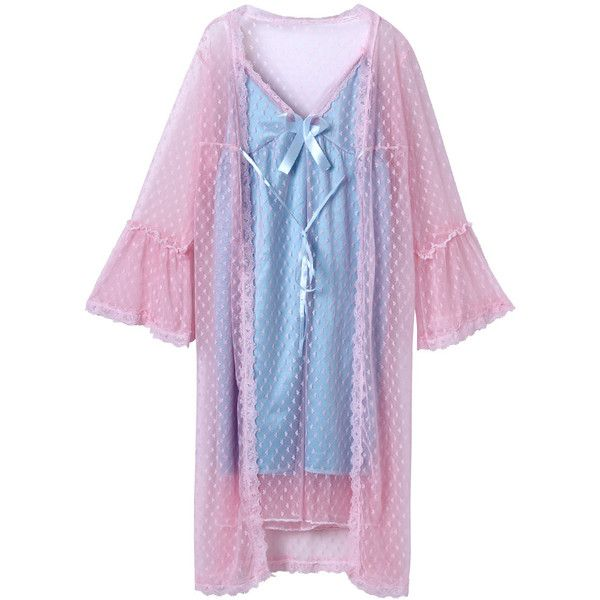 Pink Mesh Flare Sleeve Sleepwear And Blue Cami Dress & Underwear ($48) ❤ liked on Polyvore featuring intimates, sleepwear, nightgowns, pink camisole, blue cami, pink cami, blue camisole and blue nightgown