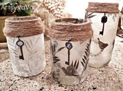 Artsy VaVa: Upcycled Pickle & Olive Jars: Crafts Ideas, Jars Crafts, Jars Candles, Candles Holders, Pickles Jars, Artsy Vava, Mason Jars, Upcycling Pickles, Olive Jars