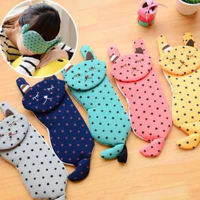 2014 Creative Hot And Cold Compress Cartoon Sleeping Eye Mask EyePatch With Ice Cooler Bag,Cute Cat Sleeping Eyeshade For Travel