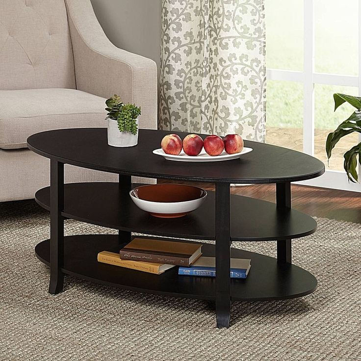 Black 3-Tier Modern Wood Coffee Table Furniture With Multiple Finishes New #DealsToaday #Modern