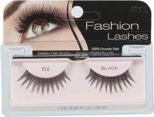 Ardell Fashion Lashes - 106 Black by Ardell. Save 59 Off!. $4.34. 100% Human Hair.. Each pair can be re-used for up to three weeks.. Contains one pair of lashes.. Fashion Lashes look so real, so natural that others think you were born with beautiful lush eyelashes. Made of 100% sterilized human hair, each lash strip is knotted and feathered by hand to achieve the highest quality. When used with Ardell Eyelash Adhesive, they are easy to apply, comfortable to wear, and stay secure until you…