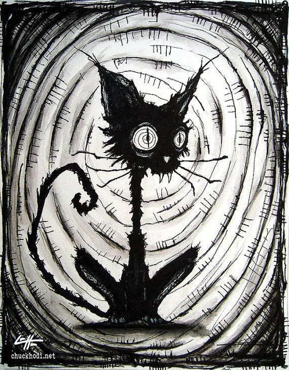 Print 8x10  Black Cat 3  Halloween Cats Stray Spooky by chuckhodi, $10.00