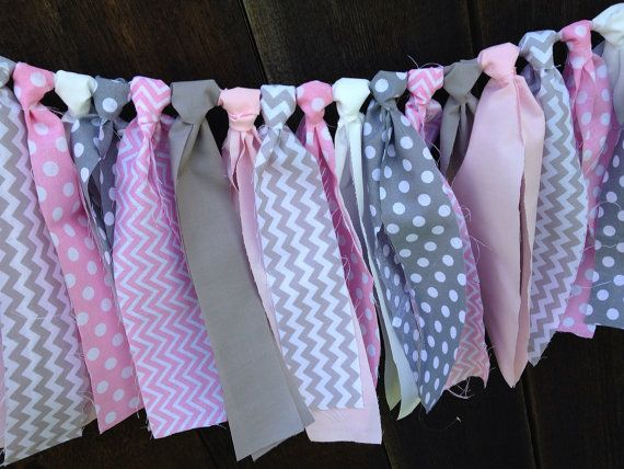 Pink and Grey Chevron and Polka Dot Themed Fabric Garland - Elephant Birthday - Photo Props - Birthday Decor - Rag tie garland on Etsy, $21.00
