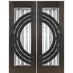 AAW Inc. NW-1621 New World Doors Double Door, Mahogany, Contemporary with Art Glass and Iron Work