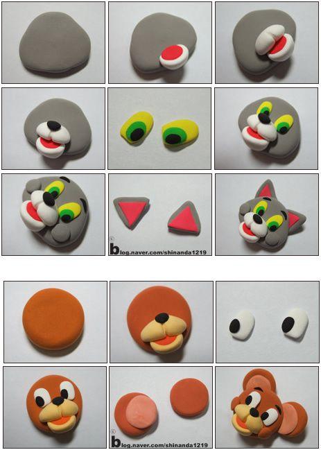 Turorial : How to make Tom and Jerry in polymer clay / Tutoriel : Réaliser Tom et Jerry en pâte polymère source : http://blog.naver.com/shinanda1219
