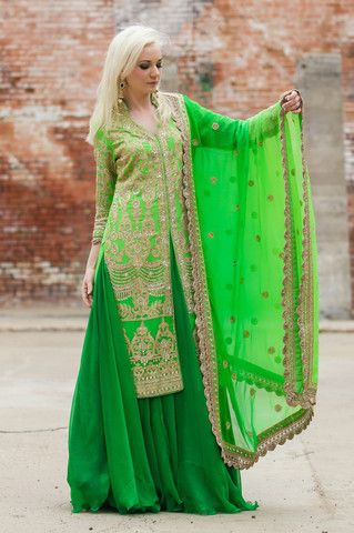 Shaded Green Jacket Lehenga by Red Paisleys