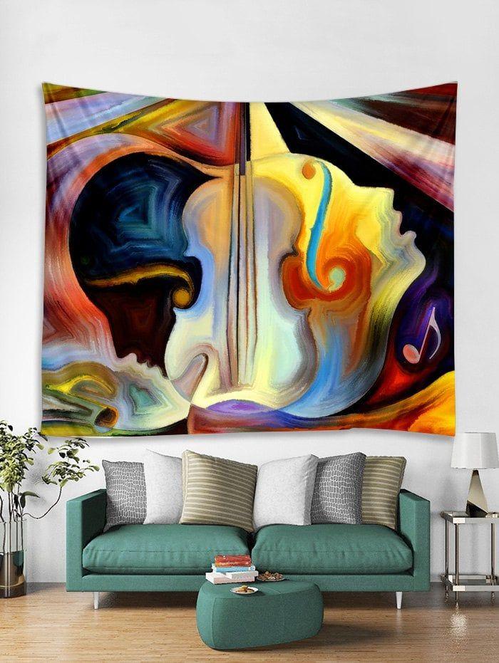 Abstract Violin Print Tapestry Wall Hanging Art Decoration