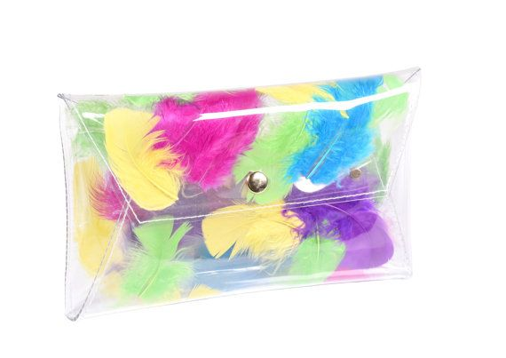 Clear clutch envelope transparent bag with by YPSILONBAGS on Etsy