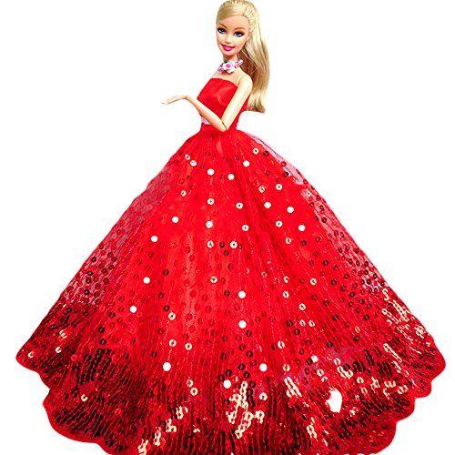 WayIn® Gorgeous Robe de soirée à la main avec Paillettes pour la poupée Barbie Rouge