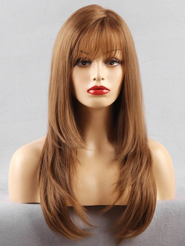 Long See Through Fringe Layered Straight Synthetic Wig Long Layered Hair Haircuts For Long Hair With Layers Long Hair Styles