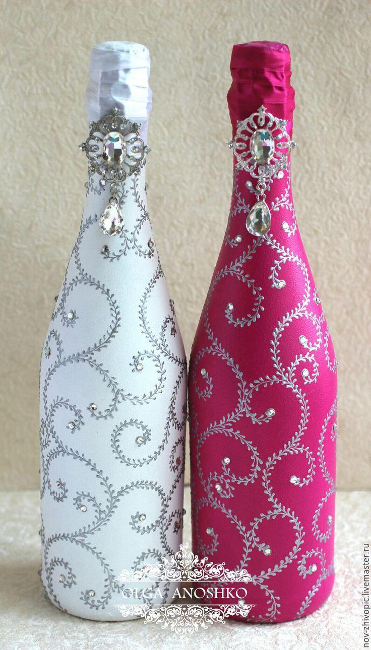"""Купить Свадебное шампанское """"Royal Wedding"""". - фуксия, шампанское, шампанское на свадьбу, шампанское свадебное"""