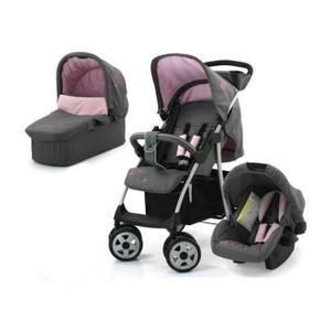 3 en 1 : poussette canne + Siège auto groupe 0+ + Nacelle souple non utilisable en voiture- Rose - Dès la naissance jusqu'à 15kg.