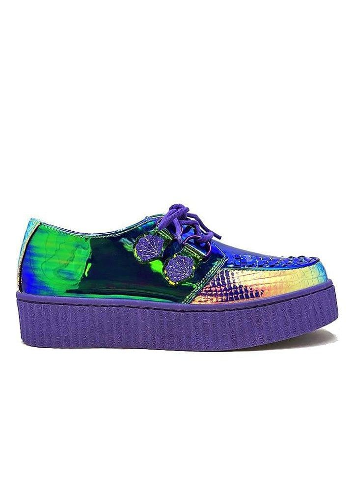 d6c1ce0c Release your inner Ursula with the Krypt Sea Witch Creeper These green  iridescent shoes have purple seashell shaped D-ring details with purple  waxed laces.