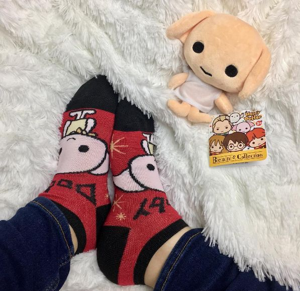 Cozy up with Dobby // Harry Potter Chibi Big Face No-Show Socks 5 Pair & Dobby Chibi Plush