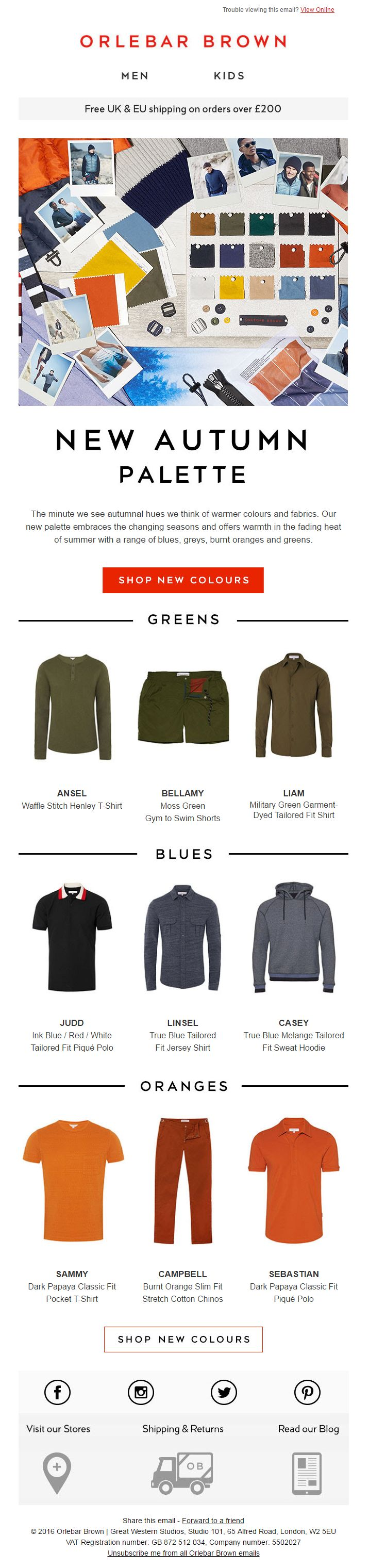 Autumn Colour Product Recommendations from Orlebar Brown #EmailMarketing #Email #Marketing #Fashion #Colour #Color #Product #Recommendations