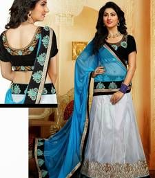 Buy Off white embroidered net unstitched lehenga choli lehenga-choli online