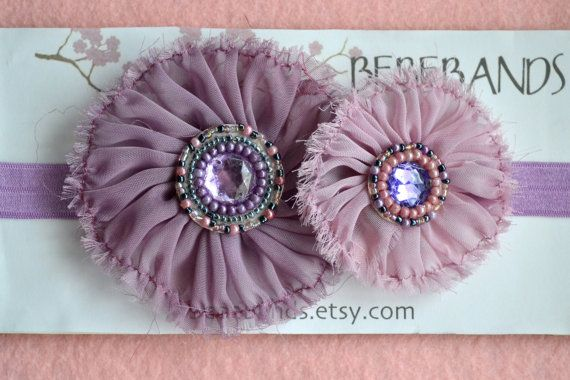 Baby Headband...baby girl headbands... purple fabric por Bebebands
