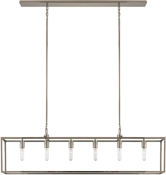 "Dennis Retro Kitchen Linear Island Pendant Lighting Clear: Overall Height: 53"" * Fixture Height: 14"" Width: 56"