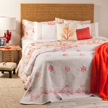 Coral Decorative Quilt and Cushion Cover
