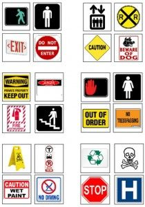 Safety Signs and Signals - Download the safety signs symbols, pictured to the left, and use the tips below to create opportunities for your child to practice and learn what these symbols mean.
