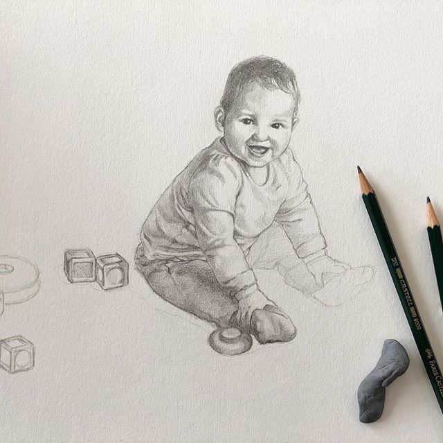 Drawing Isla. #workinprogress#drawing#baby#babyportrait#wip#pencil#draw#portrait#greyled#artist